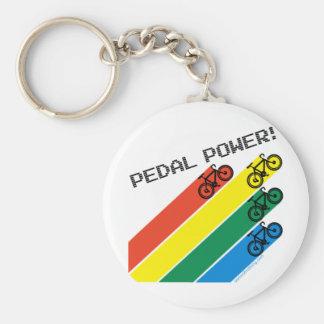 Pedal Power! Basic Round Button Key Ring