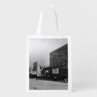 Pedestrians, cyclists, and horse-carriages reusable grocery bag