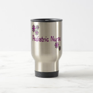 Pediatric Nurse Purple Flowers Travel Mug