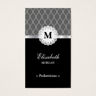 Pediatrician Elegant Black Lace Pattern Business Card