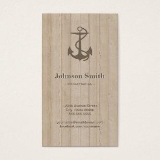 Pediatrician - Nautical Anchor Wood Business Card