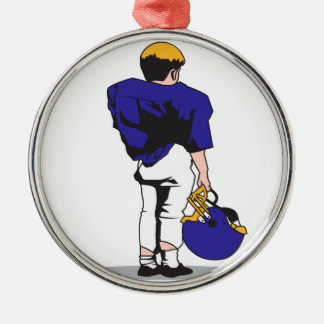 pee wee kids football player blue christmas ornament