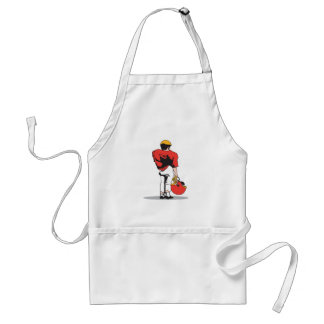 pee wee kids football player red standard apron