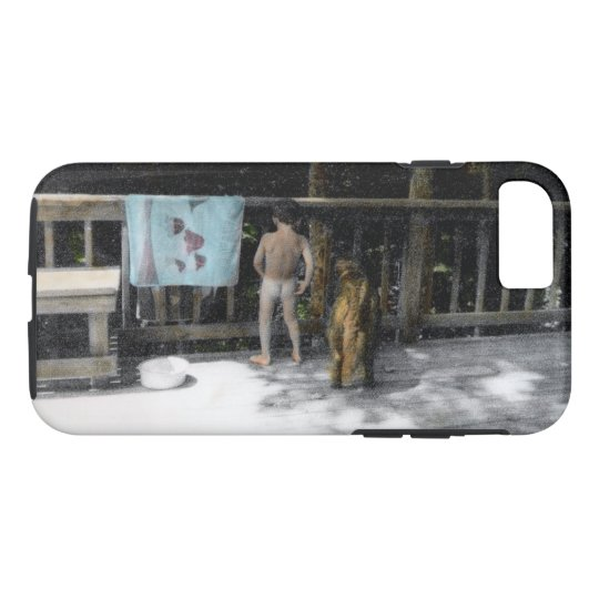 Peeing off the Deck with Dog Phone Case