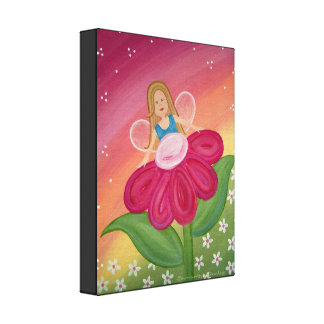 Peek a Boo - 11x14 Flower Fairy Kids Wall Art Stretched Canvas Prints