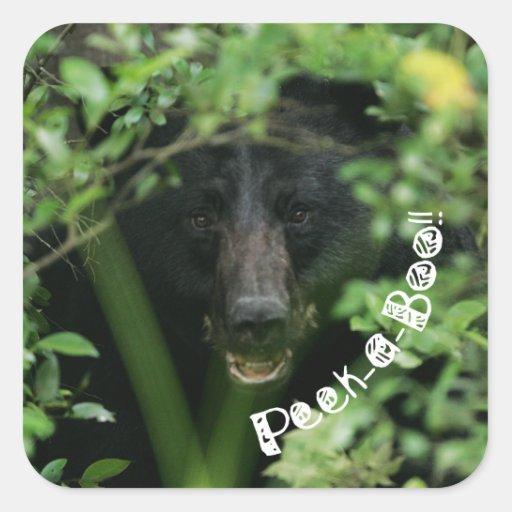 Peek-a-Boo Bear Square Sticker