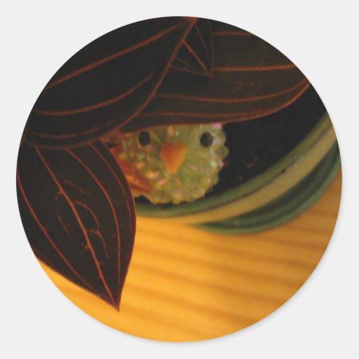 Peek-A-Boo Bird Round Stickers