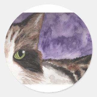 Peek a boo Calico Kitty Cat Round Sticker