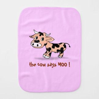 Peek-a-boo Cartoon Moo Cow, farm animal sounds Burp Cloth