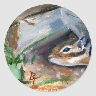 Peek-a-Boo Chipmunk Round Sticker