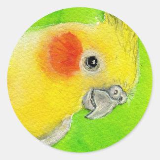 Peek-a-boo Cockatiel Round Sticker