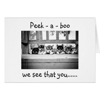 "PEEK-A-BOO HUSKY PUPS SAY YOU ARE ""5O"" CARDS"