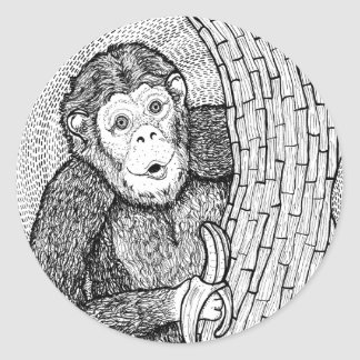 Peek a Boo Monkey Art Round Sticker