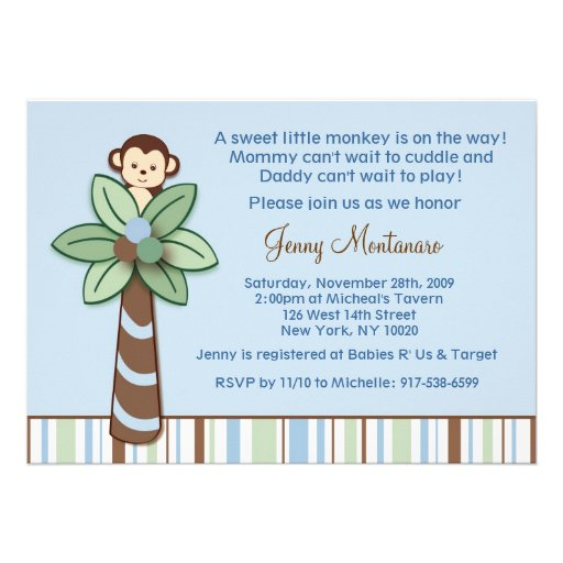 Peek A Boo Monkey Baby Shower Invitations