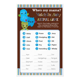 Peek a Boo Monsters Baby Shower Game Animal Match Flyer