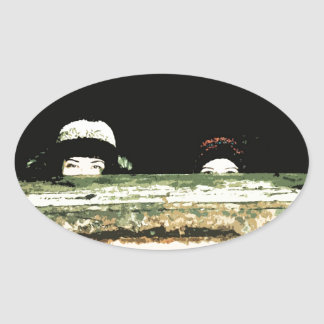 Peek-a-boo! Oval Sticker