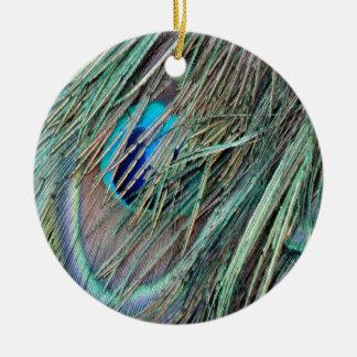 Peek a Boo Peacock Feathers Christmas Ornament