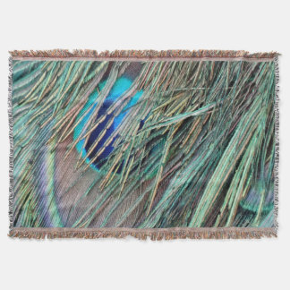 Peek a Boo Peacock Feathers Throw Blanket
