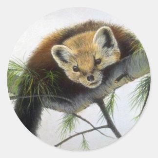 Peek-a-boo, Pine Marten Round Stickers