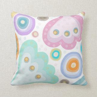 Peek A Boo. Pretty Pastel Print of fantasy flowers Throw Pillow