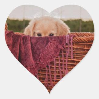 Peek a Boo Pup Heart Sticker