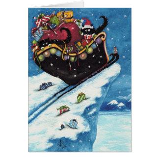 Peek & Boo Black Cat Christmas Card by Bihrle