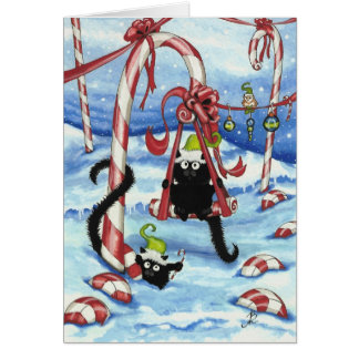 Peek & Boo Cats Christmas CandyLand Card by Bihrle