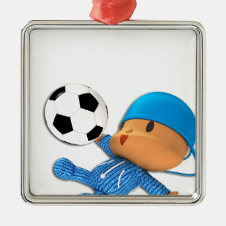 Peekaboo football Silver-Colored square decoration
