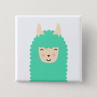 Peekaboo Happy Llama Emoji Square Button