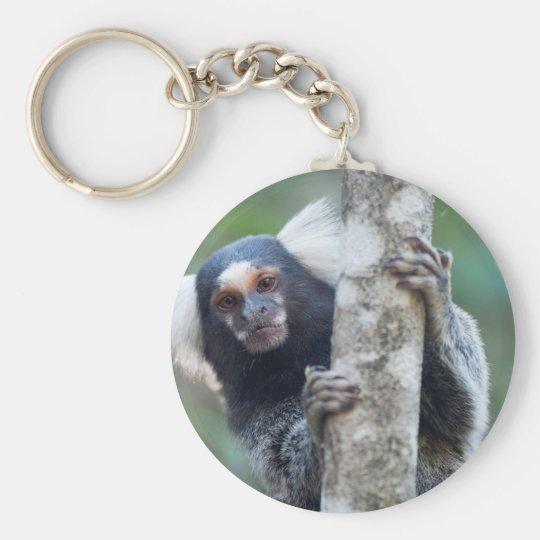 Peekaboo marmoset (Callithrix jacchus) Basic Round Button Key Ring