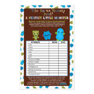 PeekaBoo Monsters Baby Shower Game Perfect Baby 14 Cm X 21.5 Cm Flyer