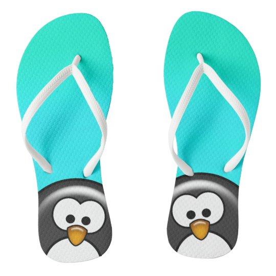 Peekaboo Penguin Aqua Flip Flops