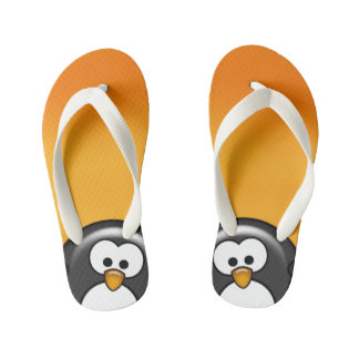 Peekaboo Penguin Orange Flip Flops
