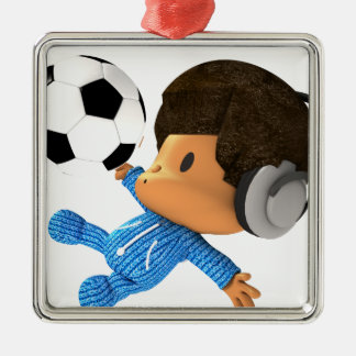 peekaboo soccer afro Silver-Colored square decoration