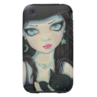 Peekaboo Witch and Cat Halloween Fantasy Art Tough iPhone 3 Cases