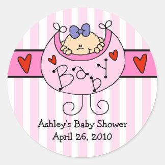 Peeking Baby & Bib Baby Shower Sticker