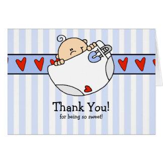 Peeking Baby Boy Diaper Thank You Note Card