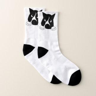 peeking basenji black and white socks