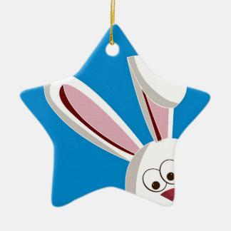 Peeking Bunny Ceramic Star Decoration