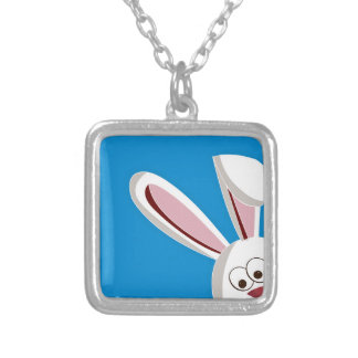 Peeking Bunny Silver Plated Necklace