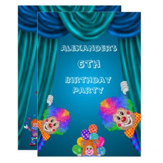 Peeking Clowns Boy's 6th Birthday Double Sided Card