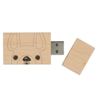 Peeking French Bulldog Maple Flash Drive