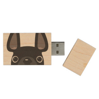 Peeking French Bulldog Maple Flash Drive - Black Wood USB 2.0 Flash Drive
