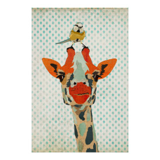 Peeking Giraffe & Little Bird Art Poster