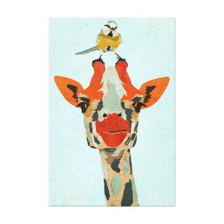 Peeking Giraffe & Little Bird Canvas Stretched Canvas Print