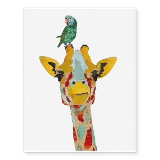 Peeking Giraffe & Parrot Temporary Tatoo