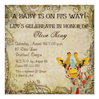 "Peeking Giraffes Shabby Baby Shower Invitation 5.25"" Square Invitation Card"