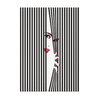 Peeking Woman (White) Canvas Print