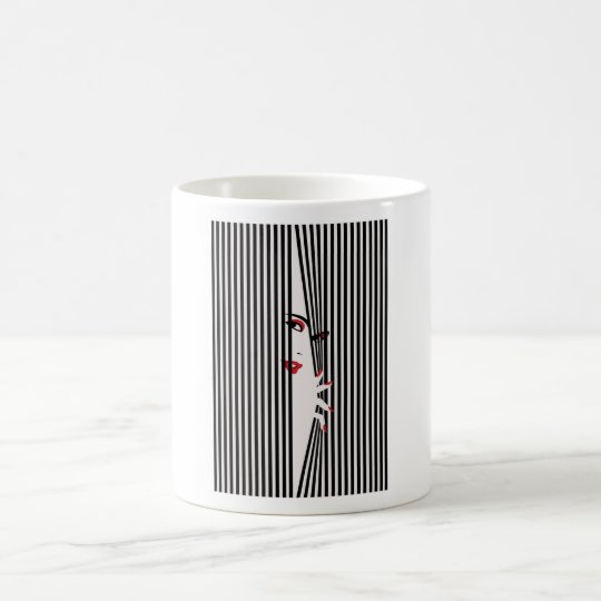 Peeking Woman (White) Mug