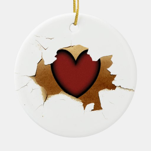 Peeling/Cracking with Rustic Heart Ornament